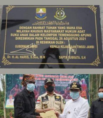 Gubernur Al Haris dan Kajati Jambi Resmikan Kawasan Wilayah Khusus MHA SAD Kelompok Temenggung Apung
