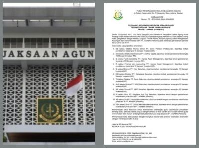 Kejagung Periksa 12 Orang Saksi Terkait Dugaan Tindak Pidana Korupsi PT. ASABRI