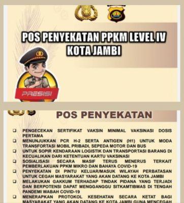 Senin Besok Mulai Diterapkan Penyekatan PPKM Level 4 di Kota Jambi